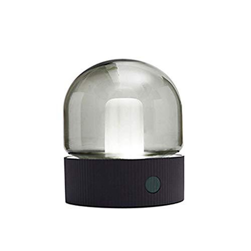 HENY Luz Nocturna para Niños,LED Vidrio Luz Nocturna Dormitorio Cabecera con Dormir Luz,Suave Silicona Recargable USB Portátil Lámpara De Noche-Gris