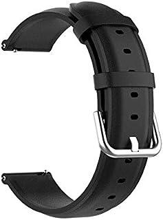 Watchbands - أحزمة جلدية لساعة Realme بسوار معصمه سوار معصمه كوريا لملحقات الساعة الذكية Realme 20 مم (سوداء لساعة Realme )