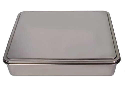 YBM HOME Stainless Steel Covered Cake Pan, Silver (Extra Large-)
