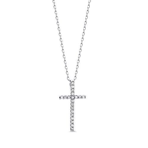 Orovi Collana - Pendente - Ciondolo Donna Croce con Catena in Oro Bianco con Diamanti Taglio Brillante Ct 0.10 Oro 9 Kt / 375 Catenina Cm 45