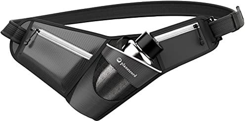 planetcord sports ランニングポーチ ボトルホルダー付き揺れないウエストポーチ (ブラック) PCS-003-BK