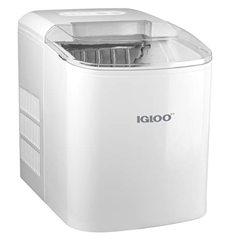Igloo ICEB26WH Automatic Portable Electric Countertop Ice Maker Machine, 26 Pounds in 24 Hours, 9 Cubes Ready in 7 minutes, With Scoop and Basket, Perfect for Water Bottles, Mixed Drinks, Parties, WHT