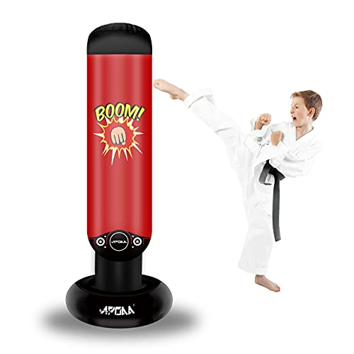 Inflatable Punching Bag for Kids, Punching Boxing Bag Freestanding Bounce Back, Boxing Punching Bag for Karate and Taekwondo, 62 inches