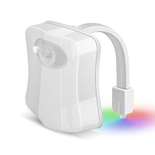 Veilleuse de Toilettes Lampe de Toilette Veilleuse LED pour WC Veilleuses à Capteur de Mouvement à LED 2 Modes avec 8 Couleurs Changeantes Adaptée à N'importe Quelle Toilette