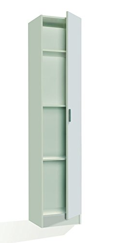 SERMAHOME- Armario Multiusos Auxiliar. Columna 1 Puerta. 4 Baldas Interiores. Color Blanco. Medidas: 37 x 180 x 37 cm.