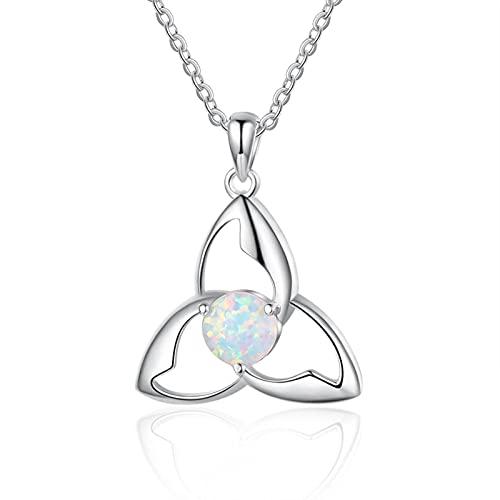 SALAN Collar De Ópalo De Plata De Ley 925 para Mujer, Nudo Celtas Vintage, Collares Triquetra Trinity, Colgantes, Collar Irlandés