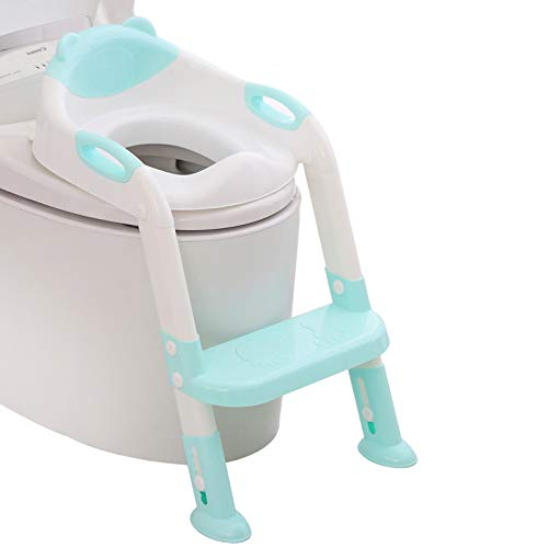 711TEK Potty Training Seat Toddler Toilet Seat with Step Stool Ladder,Potty Training Toilet for Kids Boys Girls Toddlers-Comfortable Safe Potty Seat Potty Chair with Anti-Slip Pads Ladder (Blue)