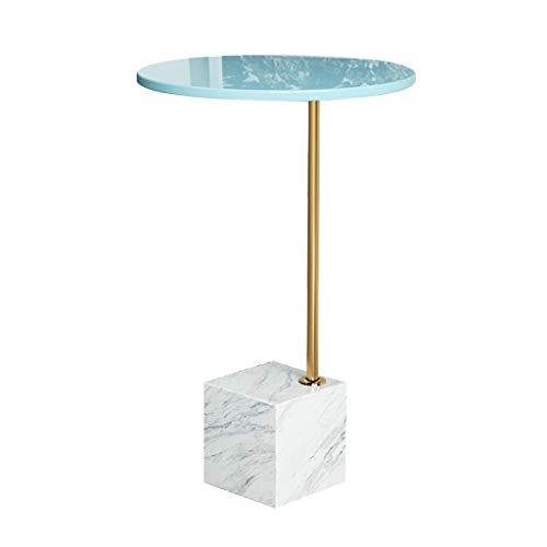 LICHUAN Table basse nordique en marbre simple pour salon, table d'appoint moderne et créative en fer pour salon (couleur : bleu et blanc)
