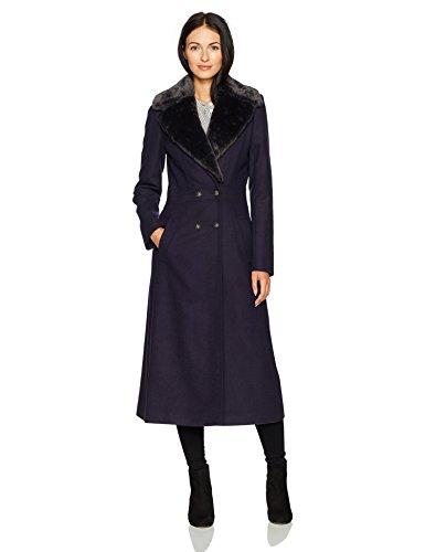 Just Cavalli Damen Womens Long Woven Coat Mantel aus Mischwolle, aubergine, 66