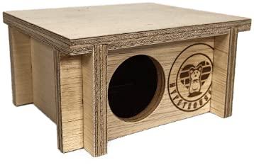 mypethouse Maus-Haus Nachhaltig Naturbelassenes Holz Einfaches Stecksystem mit Liegefläche Oben Große S 16 x 8 x 14 cm