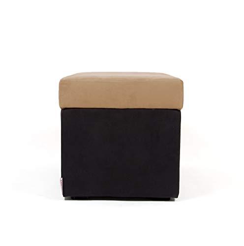 Arketicom Pandora Swing, Pouf de Rangement, Pouf Microfibre Camel Noir Made in Italy 42x42 cm