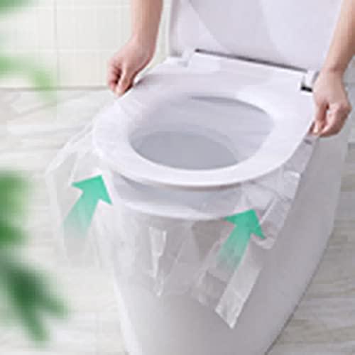 Funda de asiento de inodoro de plástico desechable, desechable de tela no tejida para asiento de inodoro de viaje, hotel, biodegradable, sanitario, seguro, para uso en inodoros públicos (50 piezas)