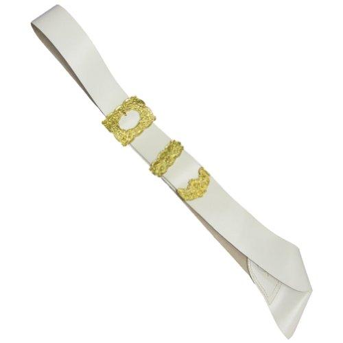 Tartanista - Baudrier de kilt pour cornemuseur/piper - homme - boucle argentée/dorée - blanc - Taille unique