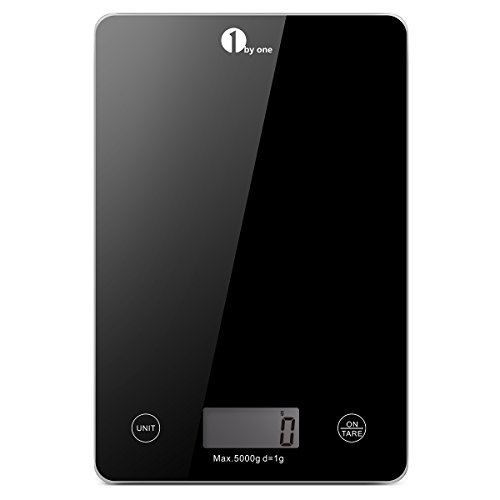 1byone 700US-0003 Food Kitchen Gram LB and OZ Cooking Baking, Digital Coffee Scale from 0.17oz up to 11 lbs, Weigh Max 5, Small, Black