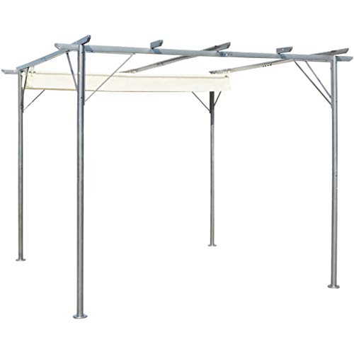 Festnight Pergola with Retractable Roof, Sunshade Awning Waterproof Canopy Gazebo for Garden Patio Cream White 3x3 m Steel