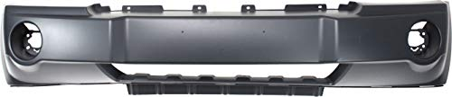 Front Bumper Cover Compatible with 2005-2007 Jeep Grand Cherokee Primed Insert with Fog Light Holes