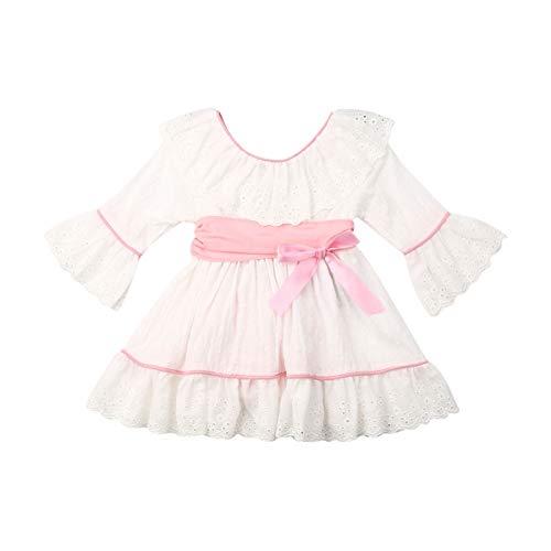Qinngsha Baby Mädchen Strampler mit Rüschen und Neckholder-Kleid Einteiler Langarm Spitze Hochzeit Party Prinzessin Tutu Kleid Gr. 3-4 Jahre, weiß