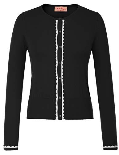 Belle Poque Strickjacke Damen schwarz Langarm Schulterjacke Strick Cardigan mit knopf 2XL BP779-1
