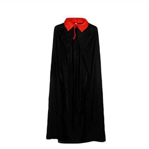 Capa de Halloween Mago Príncipe Brujo Capa Roja Costura Tela Ligera Rojo y Negro 120cm