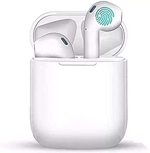 Fones de ouvido sem fio, fones de ouvido Bluetooth 5.0 TWS com caixa de carregamento de microfone Controle de toque USB-C IPX5 à prova d'água Som HD transparente para o treino de esporte de corrida branca