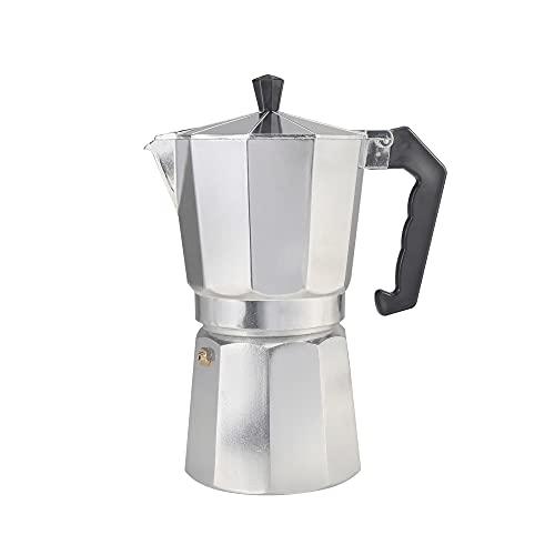 DEI Cafetera Italiana de Aluminio, Capacidad 3 Tazas, de Espresso con Mango Resistente al Calor Cafetera Moka Apta para Todo Tipo de cocinas Salvo inducción
