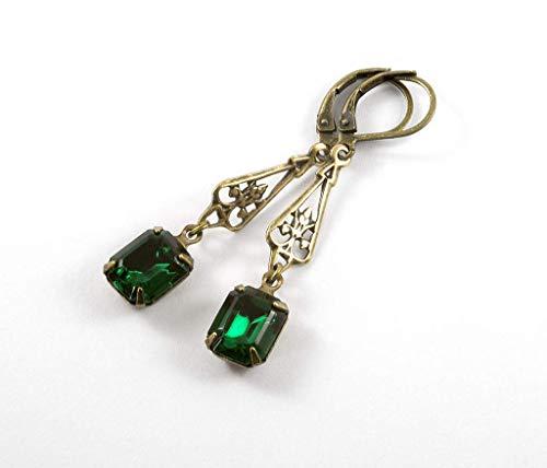 Art Deco, Regency style Drop Earrings with Dark Green Crystal Stones
