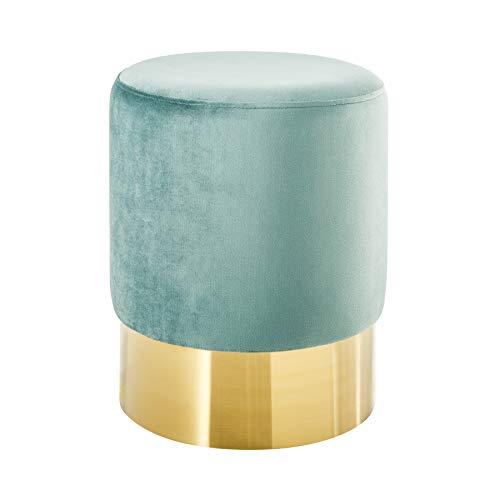Invicta Interior Eleganter Sitzhocker MODERN BAROCK SAMT Mint Couchtisch Fußhocker Hocker Samtstoff