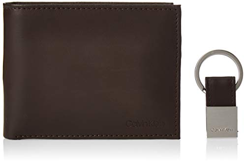Calvin Klein Men's RFID Blocking Leather Bifold Wallet, Key Fob Brown, One Size