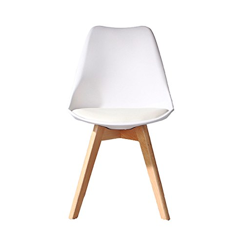 Lavin Lifestyle White Dining Chair Natural Solid Wood Legs with Cushioned Pad Contemporary Designer for Office Lounge Dining Kitchen