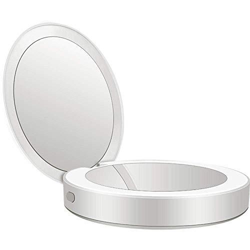 FEE-ZC Tablettes Portables Mini Poche réglable LED Petit Miroir cosmétique Charge Miroir de beauté au trésor avec Type de Lampe Mobile Power Mirror-Vilain Poudre