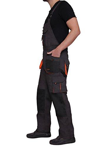 Latzhose Arbeitshose CLASSIC Handwerker KFZ Gärtner Mechaniker 270g/m2 (46, graphit/orange) - 3