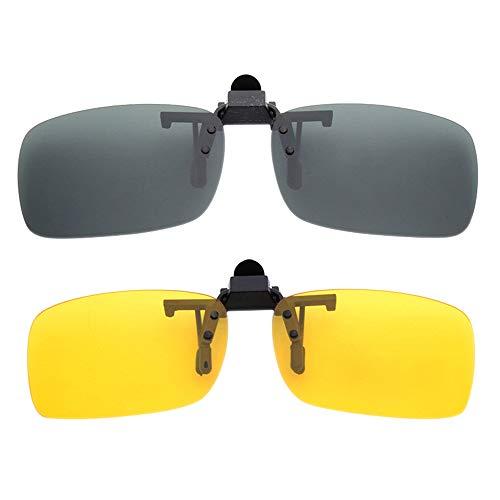 BOZEVON 2 Pares de Clip en gafas de Sol Lentes de Visión Nocturna Polarizados - Protección UV400 Antirreflectante para Conducción/Pesca/Deportes al aire libre