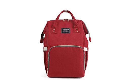 Wickelrucksack Lässig Wickeltasche Babytasche, Groß Kapazität Wickeltasche Set mit Kinderwagenhaken und Isolierter Tasche für Mama und Papa (rot)