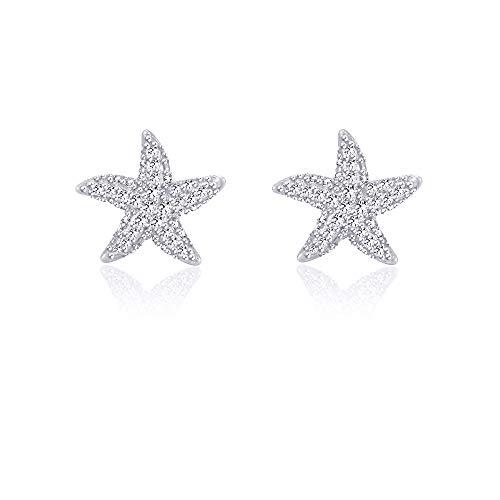 Starfish Earrings Silver Stud Earrings for Women Girls for Sensitive Ears Nickel Free Dainty Nautical Beach Jewelry