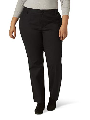 Lee Women's Plus Size Wrinkle Free Relaxed Fit Straight Leg Pant, Black, 18W Medium