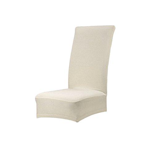 MagiDeal Housse de Chaise de Salle à Manger Couverture Couleur Unie Polyester Spandex (Blanc Cassé)
