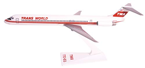 TWA (74-95) MD-80 Airplane Miniature Model Plastic Snap Fit 1:200 Part#...