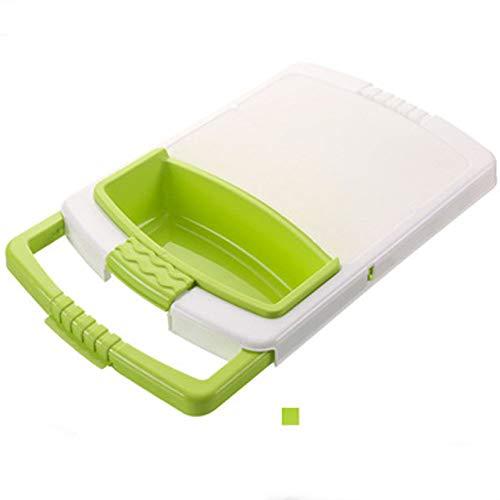 Snijplank LKU Opvouwbare waterbak vergiet opvangmand wasmand draagbaar 3 in 1 groente- en fruitbakje, groen