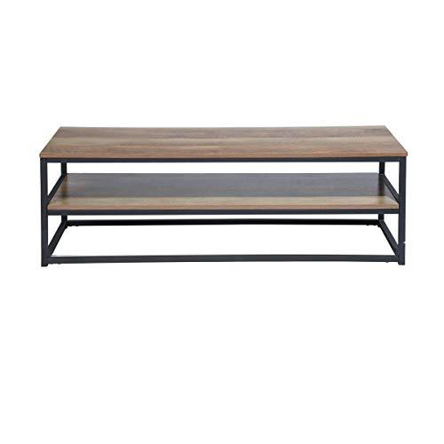 Navy Blue Multifunctionele tv-kast Bijzettafel 12x4x42cm Design 3 planken in bruin houten paneel en zwart geverfd metaal