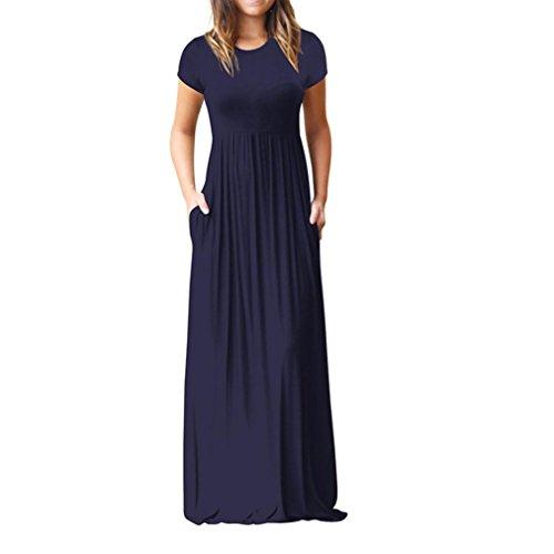 VEMOW Sommer Herbst Elegante Damen Frauen Oansatz Beiläufige Taschen Kurzarm Bodenlangen Kleid Lässig Täglichen Strand Lose Party Kleid(Marine, 38 DE/M CN)