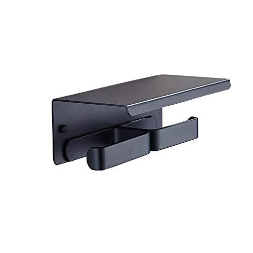 Toilettenpapierhalter, Portarotolo in alluminio nero spazio bagno punzonatura porta cellulare porta rotolo carta igienica porta igienica