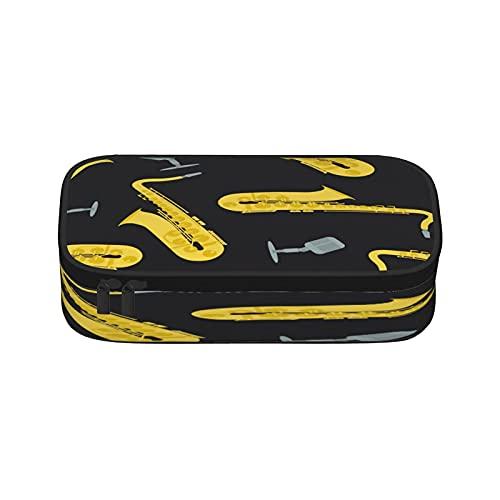 Estuche de lápices para micrófono de saxofón de lona de gran capacidad para almacenamiento de rotulador, bolsa de papelería simple