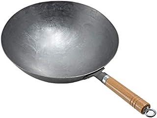 Wok en fonte à l'ancienne - Wok traditionnel en fer - Anti-adhésif - Sain et sans revêtement - Convient pour cuisinière à ...