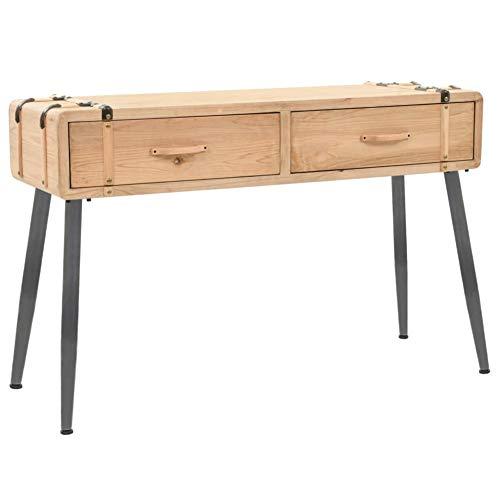 Wakects - Mesa de consola con 2 cajones de madera y tablero DM, mueble de entrada, mesa auxiliar, diseño industrial para salón, pasillo, dormitorio, 115 x 40,5 x 76 cm, fácil de montar