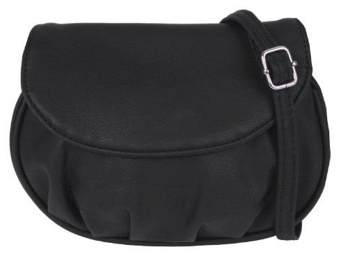 New Bags Schultertasche Abendtasche Umhängetasche Überschlagtasche S NB3041 Kunstleder 19cmx15cmx6cm (BxHxT) (Schwarz)