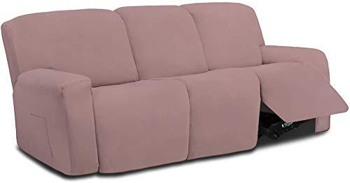 Mazu Homee Juego de sofá de 8 piezas de fibra ultrafina elástica segmentada para tumbona, juego de sofá con bridas suaves, juego de muebles elásticos para niños, mascotas (color chocolate)