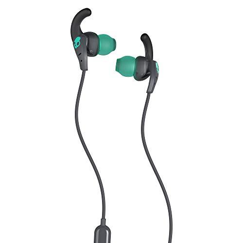Skullcandy In-Ear Sport Kopfhörer mit Mikrofon, schweiß- und wasserfest, sichere Passform, Geräuschisolierung, Anruf- und Musiksteuerung, Grau/Blaugrün