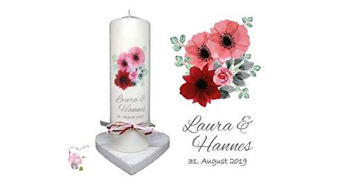 Hochzeitskerze Blumenstrauß bordeaux/rosa Töne handlettering & watercolor Design