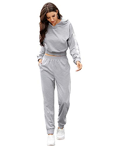 Lavnis Women's Tracksuit Plus Size 2 Piece Outfits Hoodie and Pants Sports Sweatsuit Set (S, Gray)