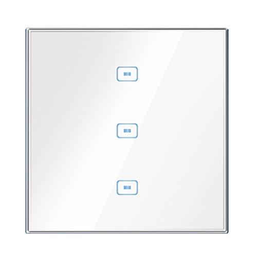 FSJKZX Enchufe del Interruptor Interruptor Táctil De La Sala De Conferencias del Hotel De La Oficina En Casa Un Interruptor Táctil De Cuatro Posiciones Metal Oro Blanco (Color : Blanco, Size : 3)